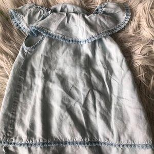 ZARA Girl Pompom Denim Off-Shoulder Dress